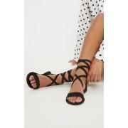 PrettyLittleThing Sandales basiques en cuir noir, Noir - 40