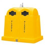 Polietilén alsó ürítésű konténer, sárga 3769-4, 2,5 m3