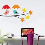 EJA Art romantic bird couple Wall Sticker (Material - PVC) (Pec - 1) With Free Set of 12 pec butterflies sticker