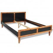 vidaXL Bed Frame Black Solid Acacia Wood 180x200 cm 6FT Super King