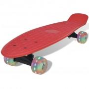 vidaXL Skateboard vermelho retro com rodas com LED