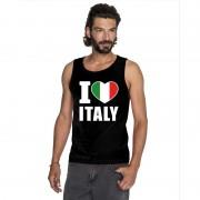 Bellatio Decorations Zwart I love Italie fan singlet shirt/ tanktop heren