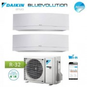 Daikin Climatizzatore Condizionatore Daikin Dual Split Inverter Serie Emura White Wi-Fi R-32 Bluevolution 9000+12000 Con 2mxm50m