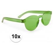 10x Groene verkleed zonnebril voor volwassenen - Feest/party bril groen