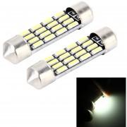 2 Pcs 2W 100 Lm 6000K 39mm Bicúspide Puerto Coche Dome Lampara LED Luz De Lectura Con 12 Smd-4014 Lamparas LED DC 12V (luz Blanca)