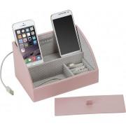 Stackers Stacja dokująca i pudełko na biżuterię mini Stackers różowo-szare