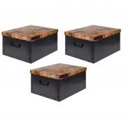 Merkloos 3x Opbergboxen/Opbergdozen zwart 50 x 38 cm