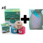 Pack: Libro Kinesiology Tape Manual + 6 Rollos Vendaje Neuromuscular Temtex Kinesiology Tape