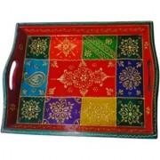 METALCRAFTS Wooden Tray mango wood hand painted Rajasthani design 35 cm