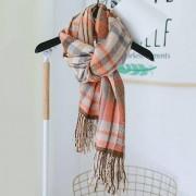rosegal Soft Tartan Pattern Faux Wool Fringed Long Scarf