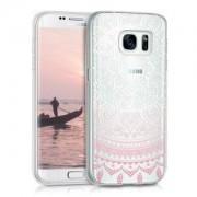 kwmobile Průhledné pouzdro s designem indické slunce pro Samsung Galaxy S7 - růžová