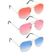 POGO FASHION CLUB Aviator, Retro Square, Wayfarer Sunglasses(Red, Pink, Blue)