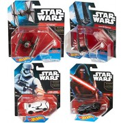 Hot Wheels Star Wars 4-Pack Space Ship & Car Set Tie Fighter First Order Special Forces & First Order Stormtrooper + Kylo Ren vehicle & Command Shuttle set