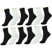 Neska Moda Men 12 Pairs Cotton Ankle Length Socks Black White