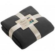 James & Nicholson Fleece deken/plaid donkergrijs 130 x 170 cm