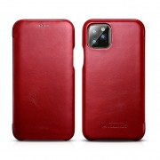 ICARER Curved Edge Retro Genuine Leather Cell Shell Cover for iPhone 11 Pro Max 6.5 inch - Red