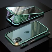 LUPHIE Metal Frame Magnetic Closure Tempered Glass Phone Case for Apple iPhone 11 Pro Max 6.5 inch - Green