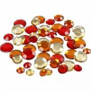 Merkloos Ronde glinster steentjes assorti rood