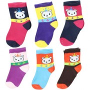 Neska Moda Premium Cotton Ankle Length Multicolor Kids 6 Pair Socks For 7 To 13 Years SK562