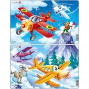 Set 2 Puzzle-uri Avioane Larsen, 13 piese