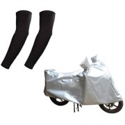 HMS Two wheeler cover Water resistant for Bajaj Discover 100 + Free Arm Sleeves - Colour Silver