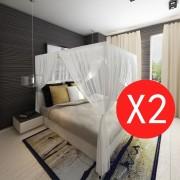 vidaXL Мрежа против комари за легло, правоъгълна, 3 отвора – 2 броя