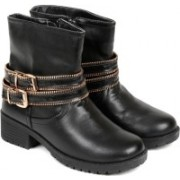 TEN Black Leather Boot Boots For Women(Black)
