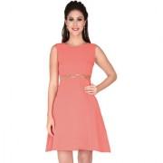 Soie Pink Georgette Round Neck Solid A-Line Dress