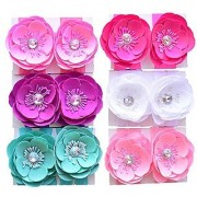 Qandsweet 6 Pairs Baby Girls Barefoots Sandals Crystal Flower Feet Accessories (6 Colors) (3 Flowers)