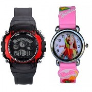 Katrodiya Round Dial Black And Pink Plastic And Rubber Quartz Kids watch