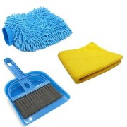 Stylewell Combo Of Mini Dustpan Broom Set Microfiber Cleaning Hand Glove Mitts With Super Clean Polish Towel Cloth