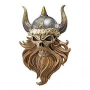 Design Toscano Estatua de Pared con diseño de Calavera de Valhalla Viking Warrior