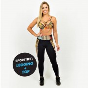 GraffitiBeasts Ski - Dames sport set bestaande uit legging + top met ontwerp - Multicolor - Size: Small