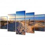 vidaXL Sada obrazů, tisk na plátně, písečná pláž, 200 x 100 cm