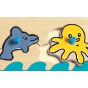 Puzzle incastru din lemn cu buton ,Oceanul, 5 piese