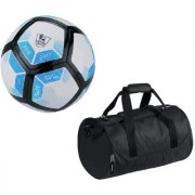 Combo of Laliga Blue/White/Black Football (Size-5) with Kit Bag