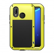 LOVE MEI Dust-proof Shock-proof Splash-proof Powerful Metal Defender Phone Cover Shell for Huawei P20 Lite / Nova 3e - Yellow