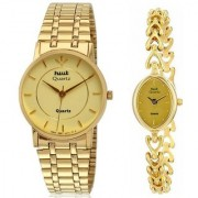 HWT Round And Bangle Golden Dail Golden Metal Couple Watches Combo