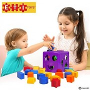 Educational Toys Learning Cube for Baby 19 Piece Set Includes Shapes of all Colors and Sizes. Great for Learning Sorting Stacking Shape Recognition.