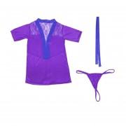 Solid Color Sexy Bathrobe Backless Lace Splice Kimono Sauna Robe Home Bathrobe Purple
