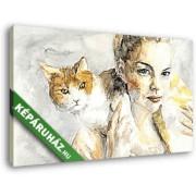 Lány tarka macskával (40x25 cm, Vászonkép )