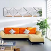 Acrílico Espelhado Para Sala Design Quadrado Círculo Central 49,0 x 204 cm