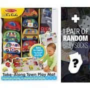 Take Along Town Play Mat: Ks Kids Baby Toy Series + 1 Free Pair Of Baby Socks Bundle [92142]