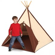 Pacific Play Tents Authentic Kids Teepee Tent, Cotton Canvas Sides and Bamboo Poles