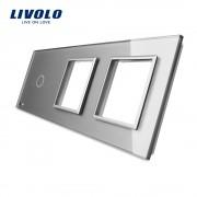 Panou intrerupator simplu+rama dubla din sticla LIVOLO