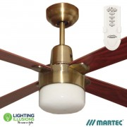 "Antique Brass Martec Alpha 1200mm 48""Ceiling Fan with Clipper Light and Remote Control"
