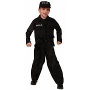 Forum Novelties SWAT Disfraz de policía para niños, Grande, Negro, Large