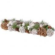 Decoris Kerststukje bruin/wit met dennenappels en theelichthouders 45 cm