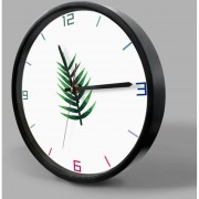 12 Inch Home Office Room Decorativas De Metal Frame Chrysalidocarpus Lutescens Patrón MUTE No Marcando Muro Redondo Reloj De Cuarzo