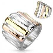 Arany, vörös arany és ezüst színű gyűrű